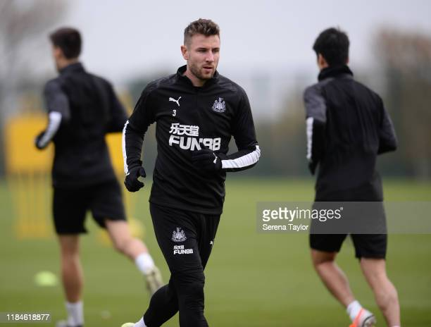 Paul Dummett warms up during the Newcastle United Training Session at the Newcastle United Training Centre on October 31, 2019 in Newcastle upon...