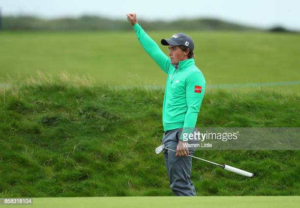 Paul Dunne of Ireland celebrates making a birdie on the 16th during day two of the 2017 Alfred Dunhill Championship at Carnoustie on October 6 2017...