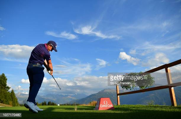 Paul Dunne of Ireland plays a shot during the pro am prior to the start of the Omega European Masters at CranssurSierre Golf Club on September 5 2018...