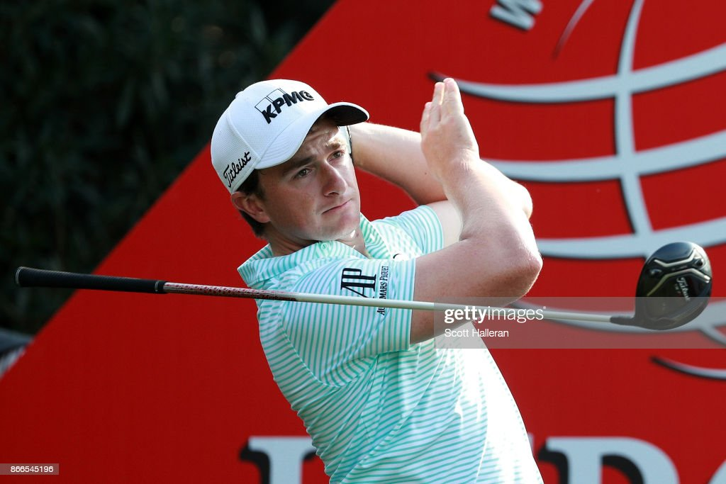 Paul Dunne of Ireland plays his shot from the 18th tee during the first round of the WGC - HSBC Champions at Sheshan International Golf Club on October 26, 2017 in Shanghai, China.