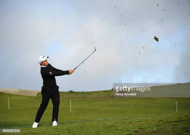 Paul Dunne of Ireland takes his second shot on the 11th fairway during day two of the Open de Espana at Centro Nacional de Golf on April 13 2018 in...
