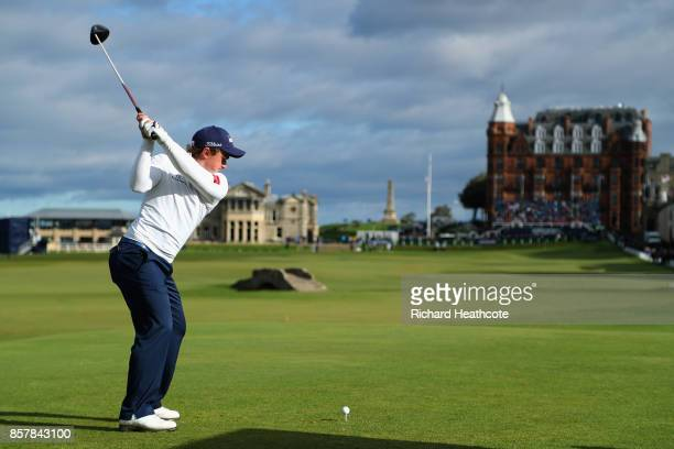 Paul Dunne of Ireland tees off on the 18th during day one of the 2017 Alfred Dunhill Championship at The Old Course on October 5 2017 in St Andrews...