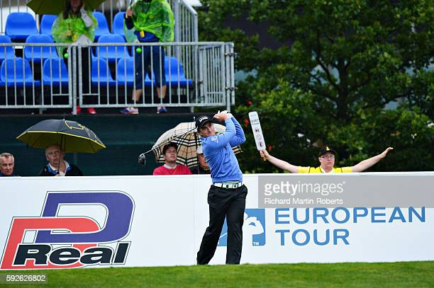 Paul Dunne of Ireland tees off on the 1st hole during day four of the DD REAL Czech Masters at Albatross Golf Resort on August 21 2016 in Prague...