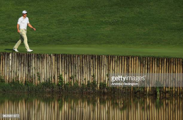 Paul Dunne of Ireland walks on the 12th hole during day one of the Italian Open at Gardagolf CC on May 31 2018 in Brescia Italy
