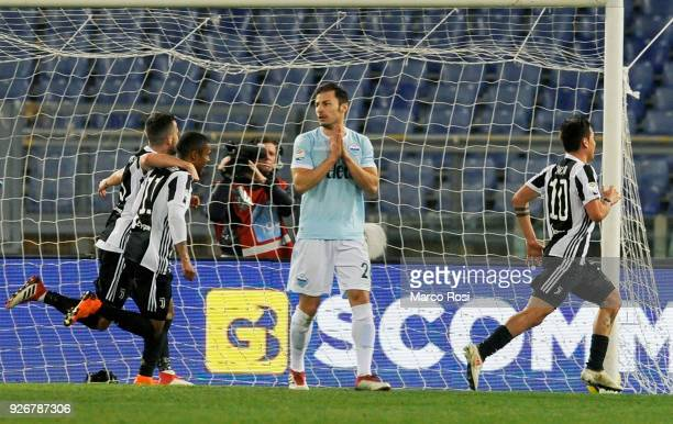 Paul Dybala of Juventus celebrate a opening goal during the serie A match between SS Lazio and Juventus at Stadio Olimpico on March 3 2018 in Rome...