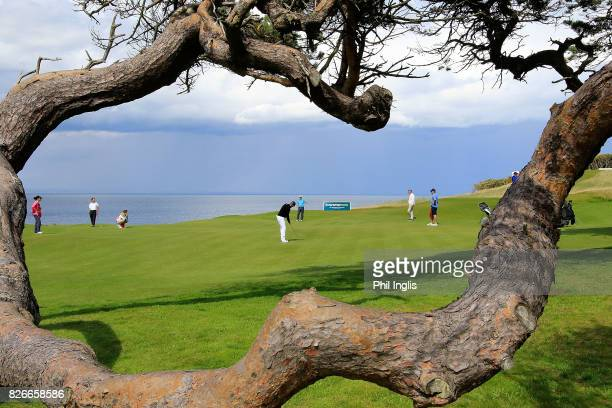 Paul Eales of England in action during the second round of the Scottish Senior Open at The Renaissance Club on August 5 2017 in North Berwick Scotland