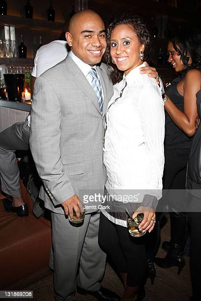 Paul Estevez and Nicole Marzan attend a Hennessey Black party to celebrate DJ DNice signing to Roc Nation DJ's at The Cooper Square Hotel on November...