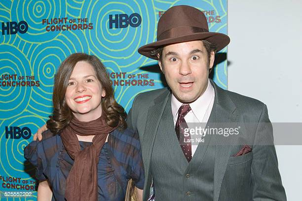 Paul F Tompkins and Janie Haddad arrive at the Flight of the Conchords Second Season Viewing Party at the Angel and Orensanz Foundation in New York...