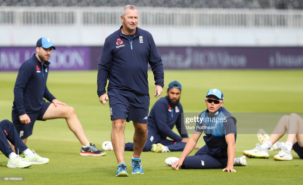 Paul Farbrace Assistant Coach of England during a nets session at Old Trafford on June 23, 2018 in Manchester, England.