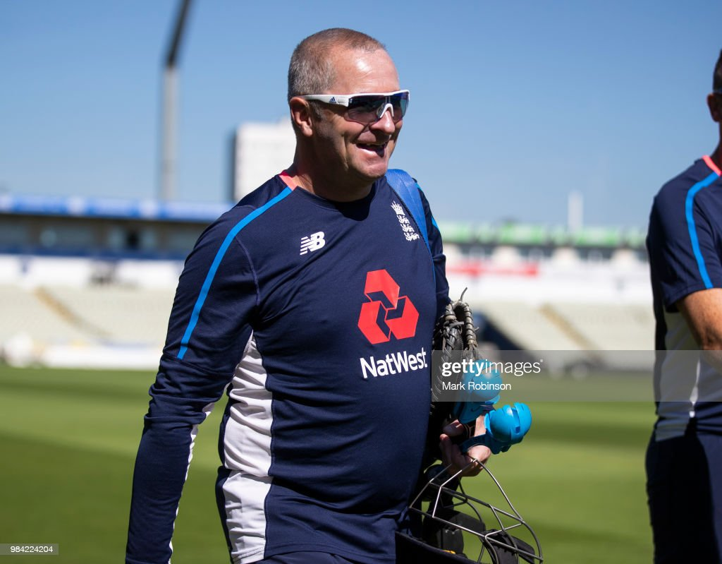 Paul Farbrace head coach of England during a nets session at Edgbaston on June 26, 2018 in Birmingham, England.