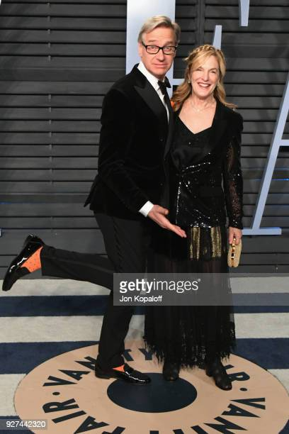 Paul Feig and Laurie Feig attend the 2018 Vanity Fair Oscar Party hosted by Radhika Jones at Wallis Annenberg Center for the Performing Arts on March...