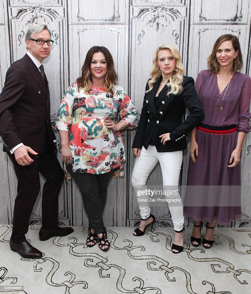 Paul Feig, Melissa McCarthy, Kate McKinnon and Kristen Wiig attend AOL Build Speaker Series: 'Ghostbusters' at AOL HQ on July 12, 2016 in New York City.