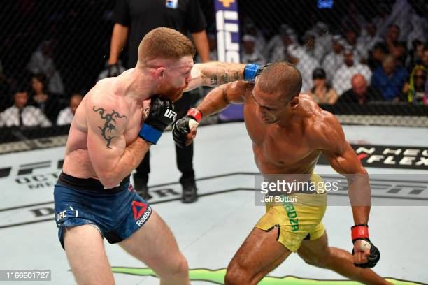 Paul Felder punches Edson Barboza of Brazil in their lightweight bout during UFC 242 at The Arena on September 7 2019 in Yas Island Abu Dhabi United...