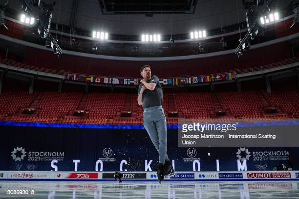 Paul Fentz of Germany practices ahead of the ISU World Figure Skating Championships at Ericsson Globe on March 23, 2021 in Stockholm, Sweden.