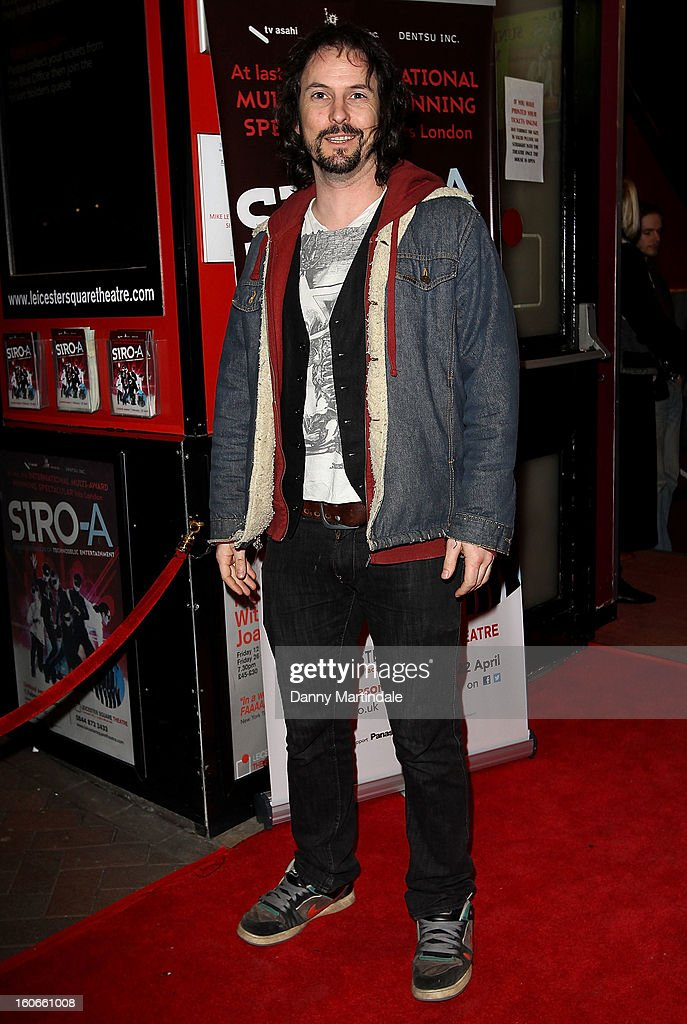 Paul Flannery of 'Ray Guns Looks Real Enough' attends the press night for Siro-A show, described as Japan's version of the Blue Man Group at Leicester Square Theatre on February 4, 2013 in London, England.