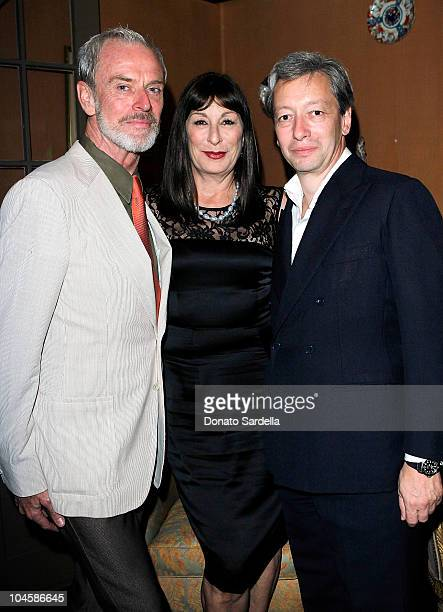 Paul Fortune actress Anjelica Huston and designer Frederic Malle attend Barney's New York Celebrates Frederic Malle's Home Collection on September 30...