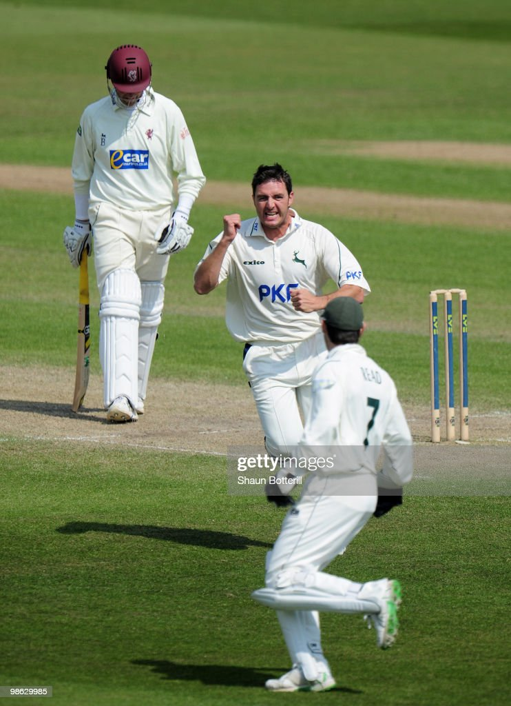 Paul Franks of Nottinghamshire celebrates after taking the wicket of Marcus Trescothick of Somerset on 98 during the LV County Championship match between Nottinghamshire and Somerset at Trent Bridge on April 23, 2010 in Nottingham, England.