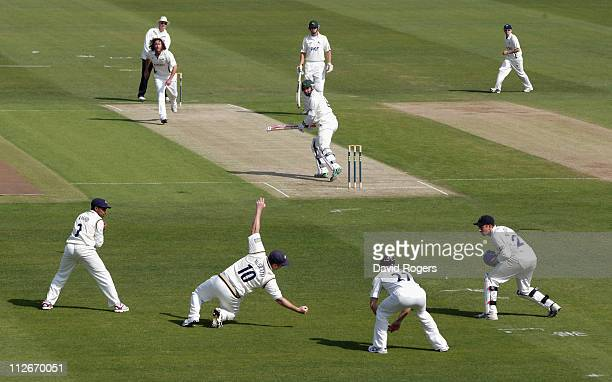Paul Franks of Nottinghamshire is caught in the slips by Anthony McGrath off the bowling of Ryan Sidebottom during the LV County Championship match...