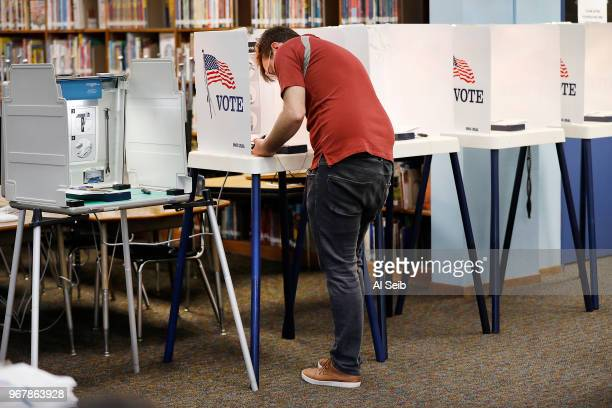 Paul Fraser at the voting booth Tuesday morning June 5 2018 at the Robert F Kennedy Elementary School in the City Terrace neighborhood of Los Angeles