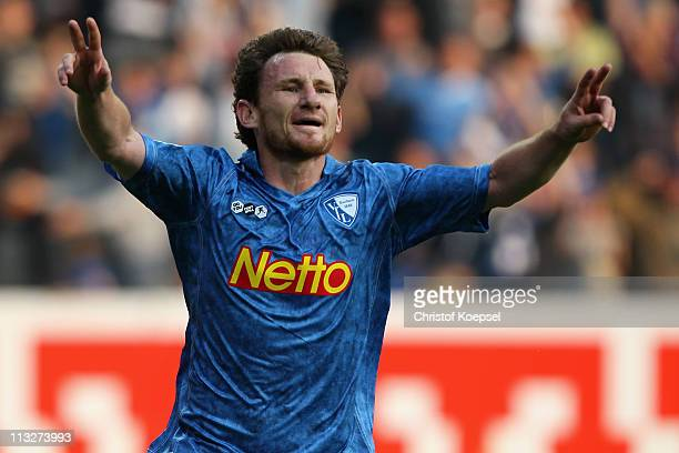 Paul Freier of Bochum celebrates the second goal during the Second Bundesliga match between VfL Bochum and Union Berlin at Rewirpower Stadium on...