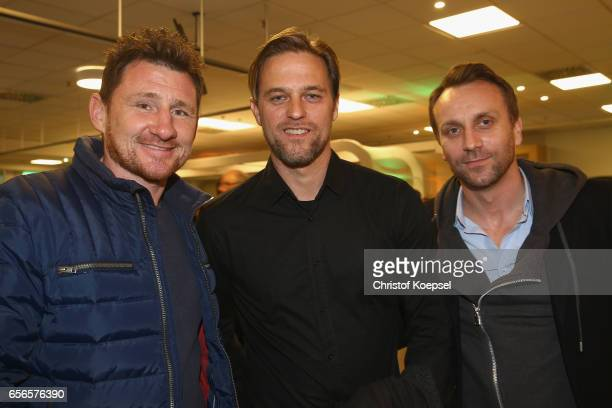 Paul Freier Timo Hilddebrnd and Sebastian Schindzielorz pose during the Club of Former National Players Meeting at Signal Iduna Park on March 22 2017...