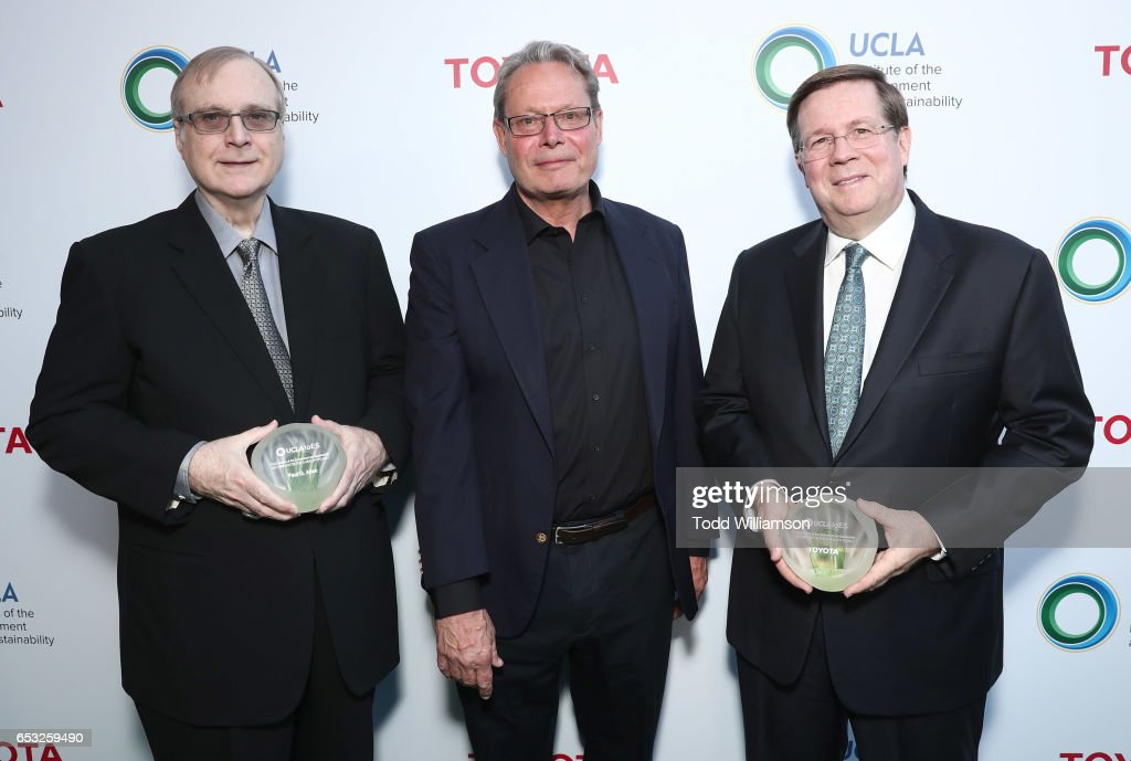 Paul G. Allen, IoES at UCLA Director Peter Kareiva and jim Lentz attend the UCLA Institute Of The Environment And Sustainability Celebrates Innovators For A Healthy Planet on March 13, 2017 in Beverly Hills, California.