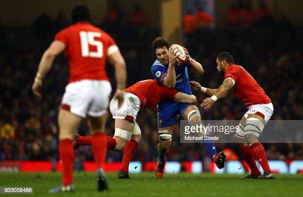 Paul Gabrillagues of France is tackled by Taulupe Faletau of Wales and Alun Wyn Jones of Wales during the NatWest Six Nations match between Wales and...