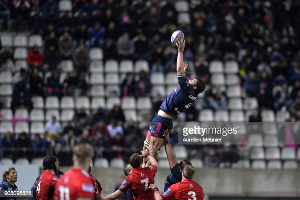 Paul Gabrillagues of Stade Francais jumps for the ball during the European Rugby Challenge Cup match between Stade Francais and Edinburgh at Stade...