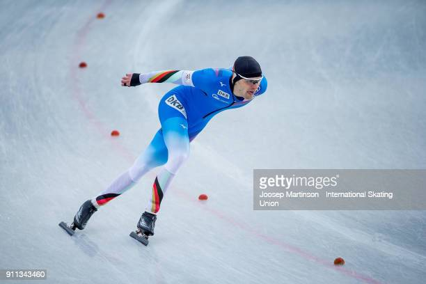 Paul Galczinsky of Germany competes in the Men's 1500m during day two of the ISU Junior World Cup Speed Skating at Olympiaworld Ice Rink on January...