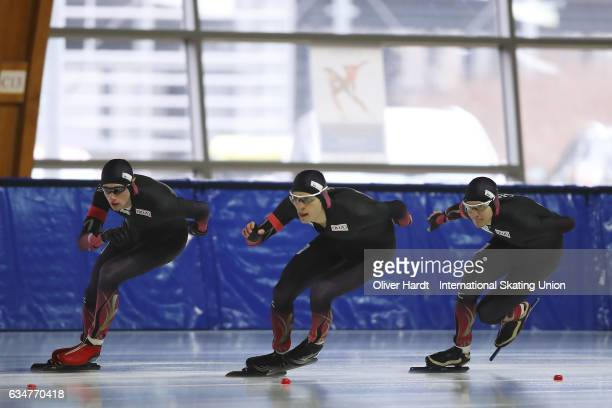 Paul GalczinskyJeremias Marx and Lukas Mann of Germany competes in the Team Pursuit Men Jun race during the ISU Junior World Cup Speed Skating Day 1...