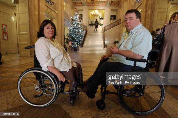 Paul Gallagher Chairman of the Victims and Survivors' Trust with Jennifer McNern at Parliament buildings Stormont as a report from the Wave Trauma...