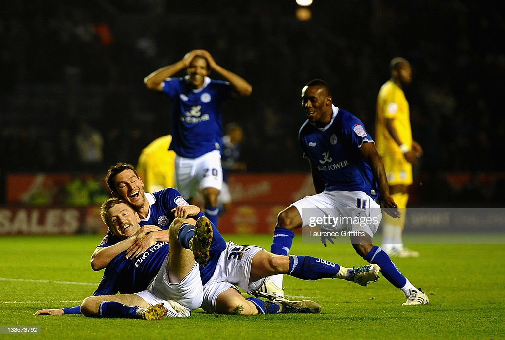 Paul Gallagher of Leicester celebrates the third goal with David Nugent during the npower Championship match between Leicester City and Crystal Palace at Walkers Stadium on November 20, 2011 in Leicester, England.