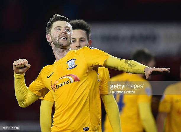 Paul Gallagher of Preston North End celebrates victory at the end of the FA Cup Fourth Round Replay match between Shefield United and Preston North...