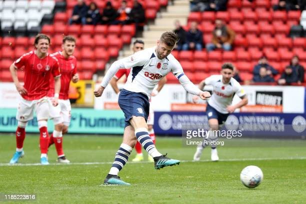 Paul Gallagher of Preston North End scores his team's first goal from the penalty spot during the Sky Bet Championship match between Charlton...