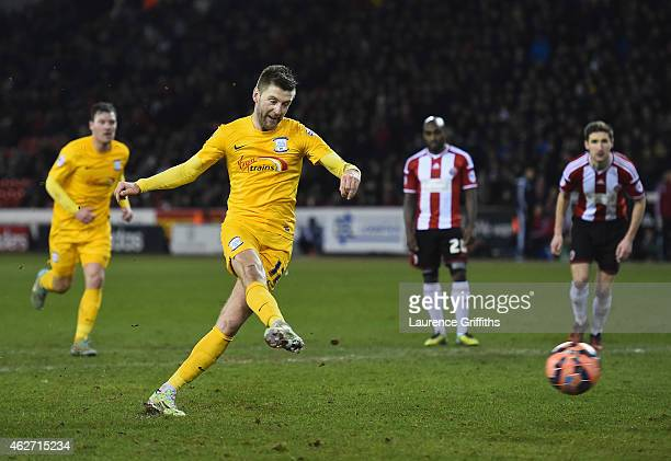 Paul Gallagher of Preston North End scores the third goal from the penalty spot during the FA Cup Fourth Round Replay match between Shefield United...