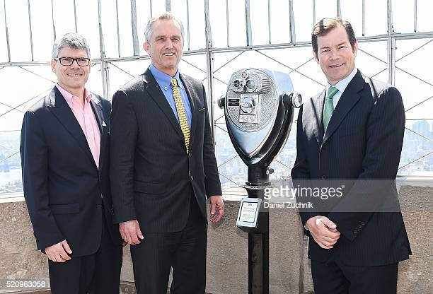 Paul Gallay Robert F Kennedy Jr and Mike Richter attend the lighting ceremony of Riverkeeper's 50th anniversary at The Empire State Building on April...