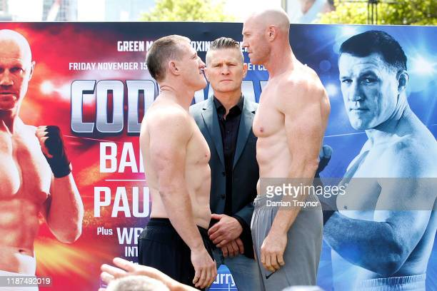 Paul Gallen and Barry Hall face off during the Official Weigh In at the Crown Riverwalk on November 14, 2019 in Melbourne, Australia.