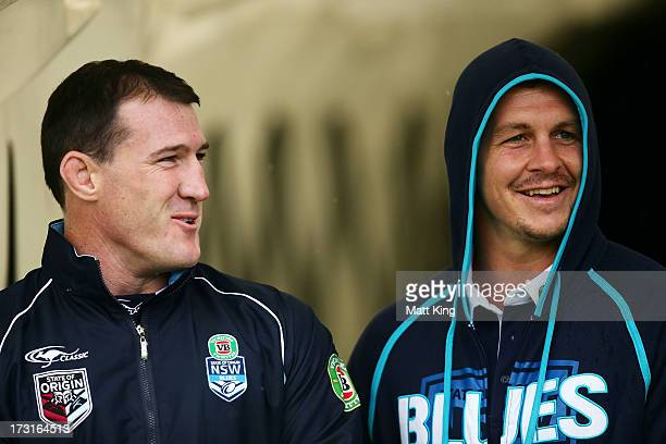 Paul Gallen and Greg Bird look on as they sit out the session during a New South Wales Blues State or Origin training session at Parramatta Stadium...
