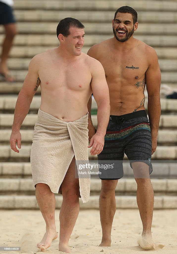 Paul Gallen and Greg Inglis smile during an Australian Kangaroos training session at Coogee Beach on April 15, 2013 in Sydney, Australia.