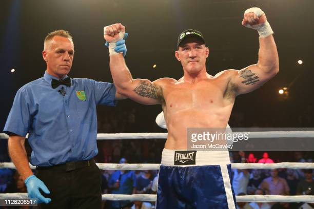 Paul Gallen celebrates winning against John Hopoate during the Star of the Ring III Charity Fight Night at Hordern Pavilion on February 08, 2019 in...