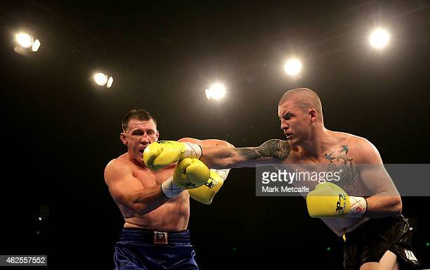 Paul Gallen fights Randall Rayment during their heavyweight bout during the Footy Show Fight Night at Allphones Arena on January 31 2015 in Sydney...