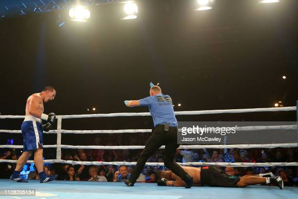 Paul Gallen knocks out John Hopoate during the Star of the Ring III Charity Fight Night at Hordern Pavilion on February 08 2019 in Sydney Australia