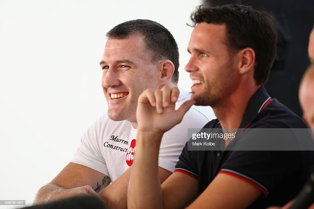Paul Gallen laughs a he listens on during a Press Conference ahead of the Geale v Fletcher fight night at the Hordern Pavilion on December 1, 2014 in Sydney, Australia.