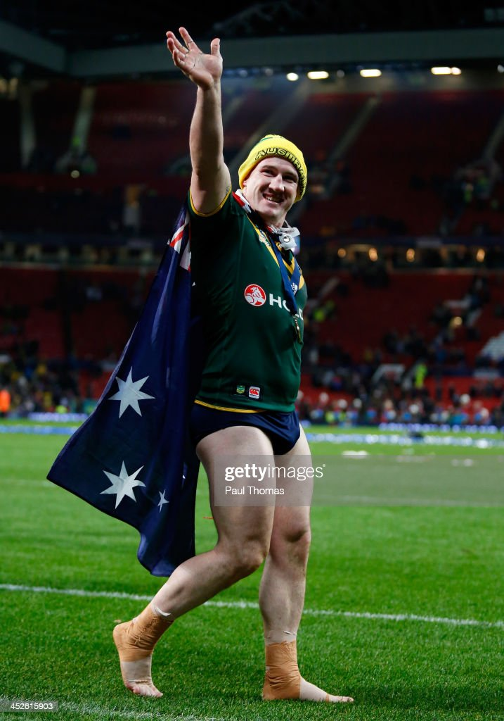 Paul Gallen of Australia celebrates after the Rugby League World Cup final between New Zealand and Australia at Old Trafford on November 30, 2013 in Manchester, England.