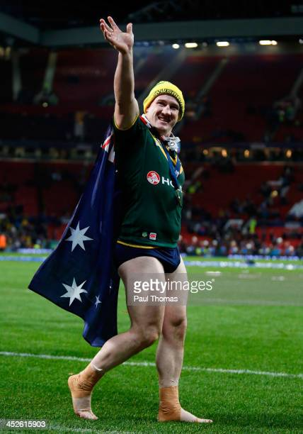 Paul Gallen of Australia celebrates after the Rugby League World Cup final between New Zealand and Australia at Old Trafford on November 30 2013 in...