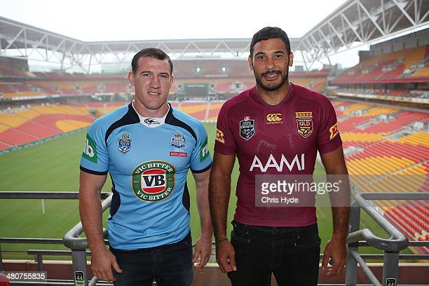 Paul Gallen of the Blues and Justin Hodges of the Maroons pose for a photograph during a media opportunity ahead of the 100th State of Origin match...