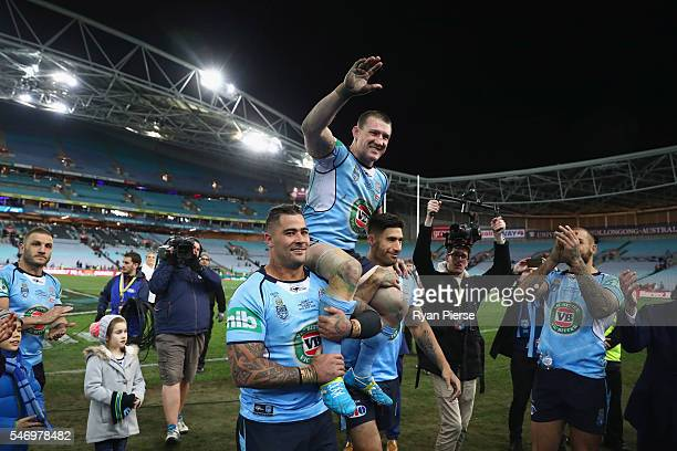 Paul Gallen of the Blues is chaired off after his last game during game three of the State Of Origin series between the New South Wales Blues and the...