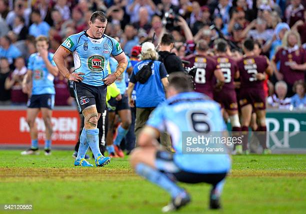 Paul Gallen of the Blues is dejected after his team loses the Origin series after game two of the State Of Origin series between the Queensland...