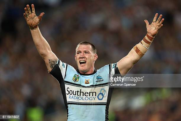Paul Gallen of the Sharks celebrates winning the 2016 NRL Grand Final match between the Cronulla Sharks and the Melbourne Storm at ANZ Stadium on...