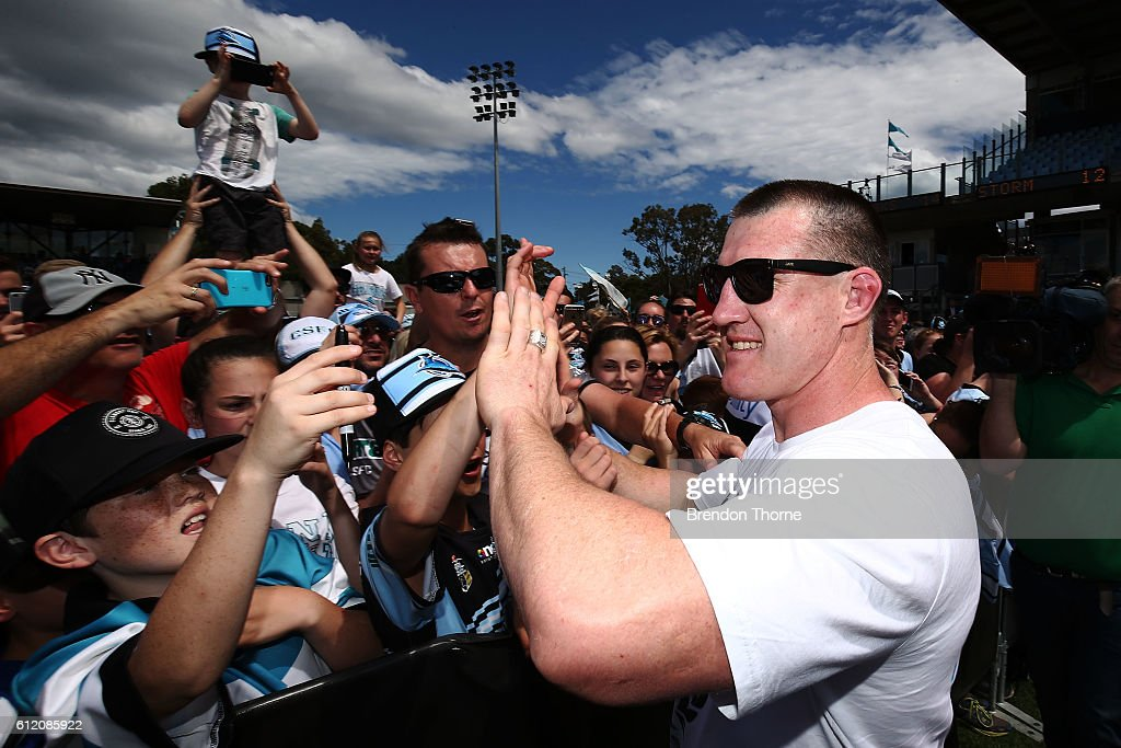Paul Gallen of the Sharks celebrates with fans during the Cronulla Sharks NRL Grand Final celebrations at Southern Cross Group Stadium on October 3, 2016 in Sydney, Australia. The Cronulla Sharks defeated the Melbourne Storm in yesterday's NRL Grand Final.